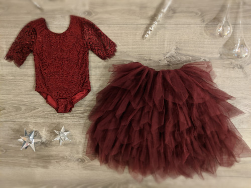 Ayla Rae Wine Lace Bodysuit and Wine Gia Skirt