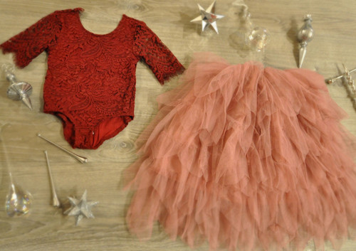 Ayla Rae Wine Lace Bodysuit and Rose Gia Skirt