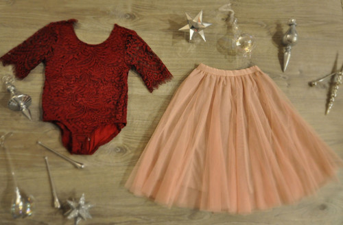 Ayla Rae Wine Lace Bodysuit and Blush Pink Petal Skirt