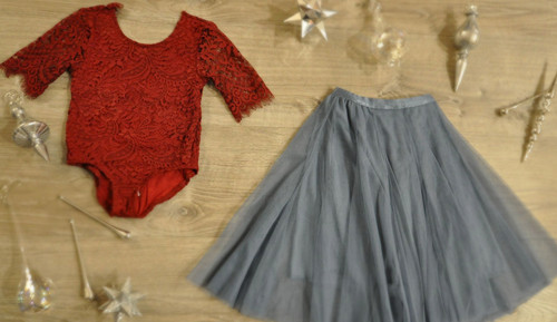 Ayla Rae Wine Lace Bodysuit and Slate Blue Petal Skirt