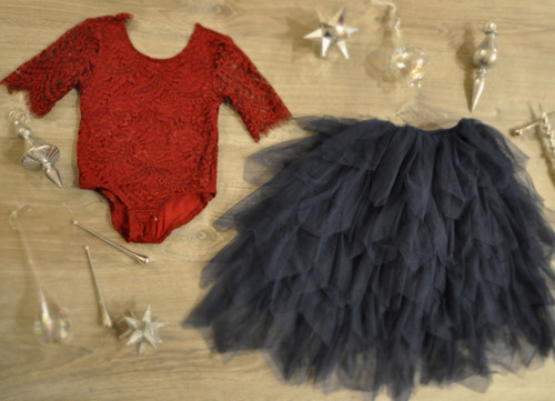 Ayla Rae Wine Lace Bodysuit and Navy Gia Skirt