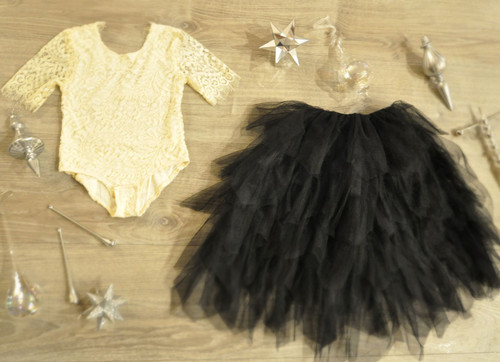 Ayla Rae Cream Lace Bodysuit and Black Gia Skirt