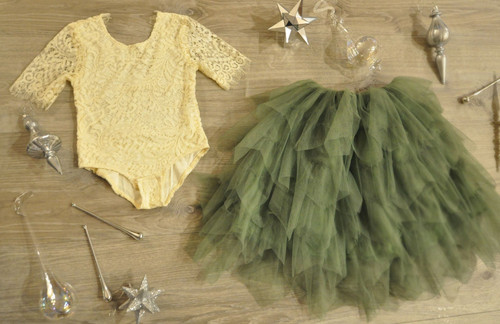 Ayla Rae Cream Lace Bodysuit and Sage/Moss Green Gia Skirt