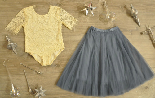 Ayla Rae Cream Lace Bodysuit and Slate Blue Petal Skirt
