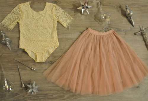 Ayla Rae Cream Lace Bodysuit and Blush Pink Petal Skirt