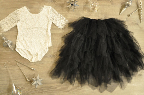 Ayla Rae White Lace Bodysuit and Black Gia Skirt