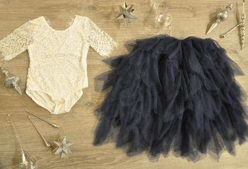 Ayla Rae White Lace Bodysuit and Navy Gia Skirt