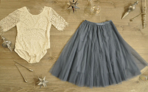 Ayla Rae White Lace Bodysuit and Slate Blue Hailey Skirt