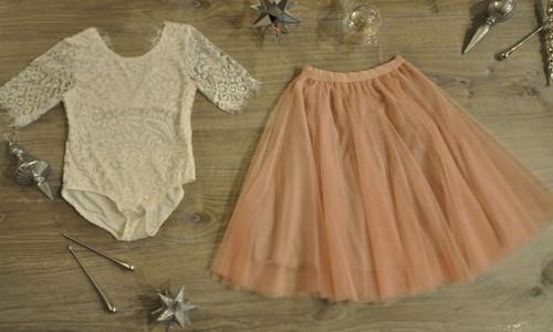 Ayla Rae White Lace Bodysuit and Blush Pink Petal Skirt