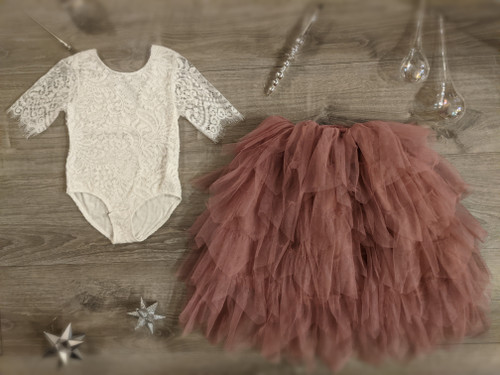 Ayla Rae White Lace Bodysuit and Rose Gia Skirt