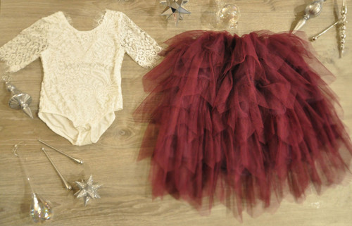 Ayla Rae White Lace Bodysuit and Plum Gia Skirt