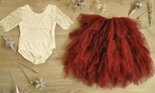 Ayla Rae White Lace Bodysuit and Wine Gia Skirt