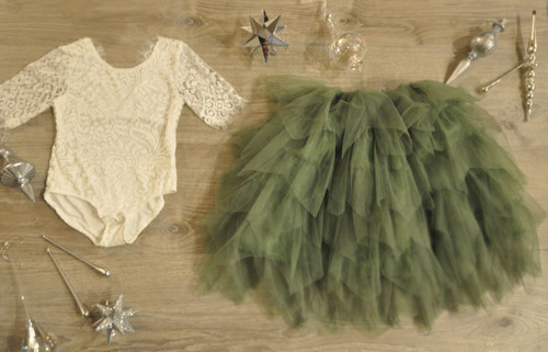 Ayla Rae White Lace Bodysuit and Sage/Moss Gia Skirt