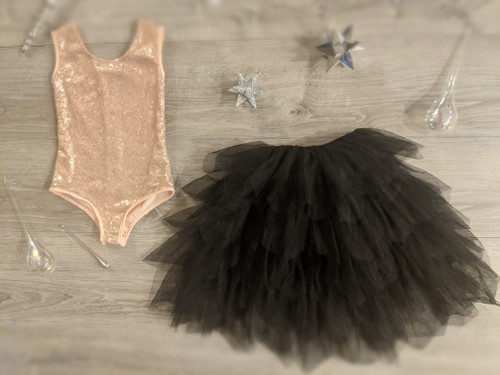 Ayla Rae Rose Gold Sequin Bodysuit and Black Gia Skirt