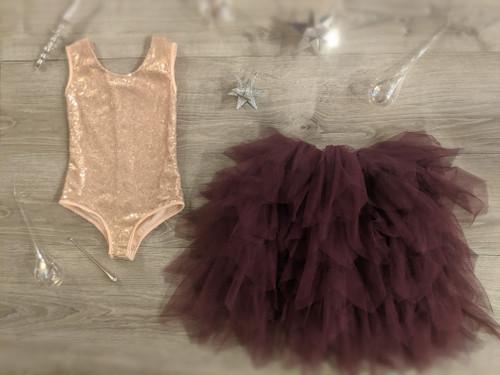 Ayla Rae Rose Gold Sequin Bodysuit and Plum Gia Skirt
