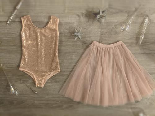 Ayla Rae Rose Gold Sequin Bodysuit and Blush Pink Petal Skirt