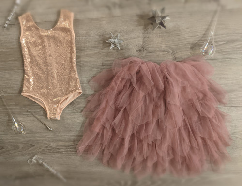 Ayla Rae Rose Gold Sequin Bodysuit and Rose Gia Skirt
