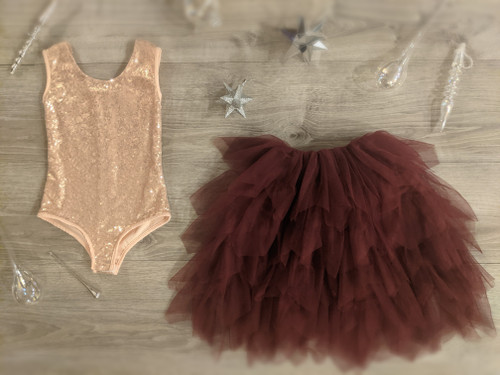 Ayla Rae Rose Gold Sequin Bodysuit and Wine Gia Skirt