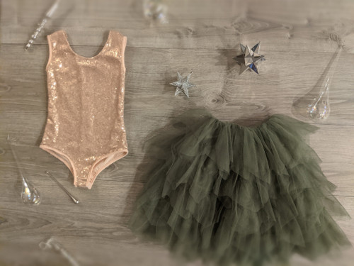 Ayla Rae Rose Gold Sequin Bodysuit and Sage/Moss Gia Skirt