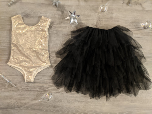 Ayla Rae Gold Sequin Bodysuit and Black Gia Skirt