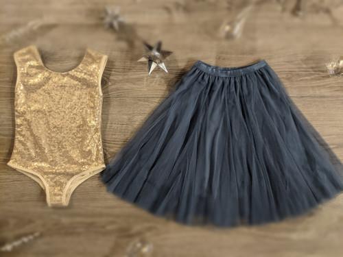 Ayla Rae Gold Sequin Bodysuit and Slate Blue Petal Skirt