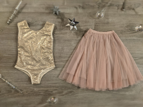 Ayla Rae Gold Sequin Bodysuit and Blush Pink Petal Skirt