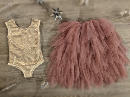 Ayla Rae Gold Sequin Bodysuit and Rose Gia Skirt