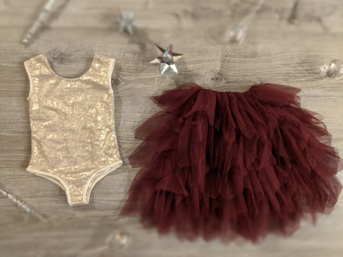 Ayla Rae Gold Sequin Bodysuit and Wine Gia Skirt