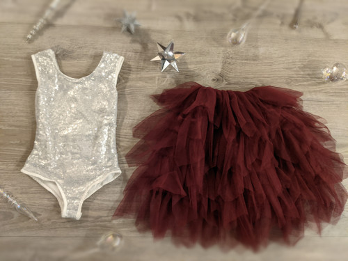 Ayla Rae Silver Sequin Bodysuit and Wine Gia Skirt