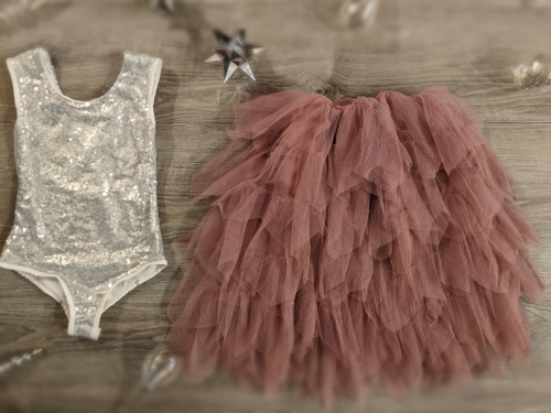 Ayla Rae Silver Sequin Bodysuit and Rose Gia Skirt