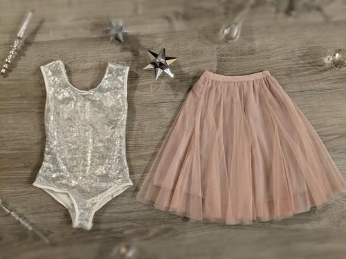 Ayla Rae Silver Sequin Bodysuit and Blush Pink Petal Skirt