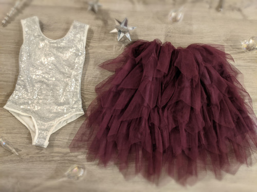 Ayla Rae Silver Sequin Bodysuit and Plum Gia Skirt