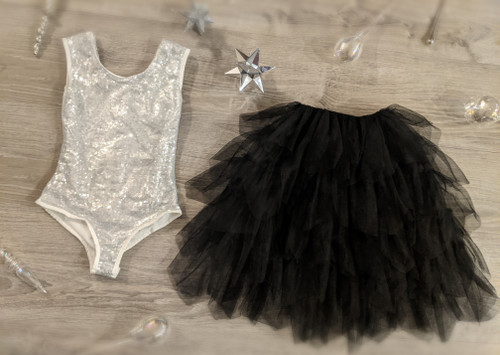 Ayla Rae Silver Sequin Bodysuit and Black Gia Skirt