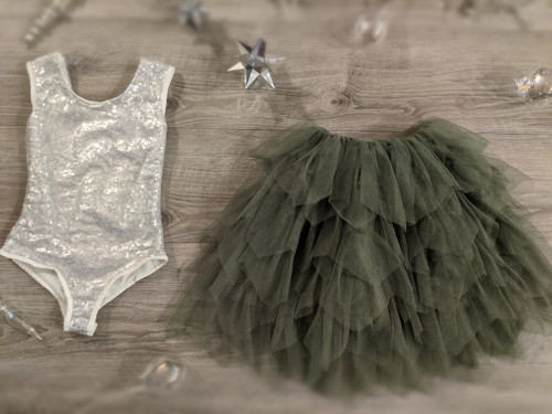 Ayla Rae Silver Sequin Bodysuit and Sage/Moss Green Gia Skirt