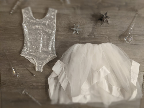 Ayla Rae Silver Sequin Bodysuit and White Hailey Skirt