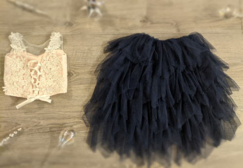 Ayla Rae Pink Lace Top and Navy Gia Skirt