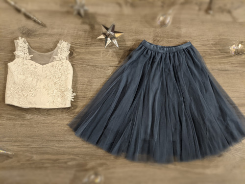 Ayla Rae Pink Lace Top and Slate Blue Petal Skirt