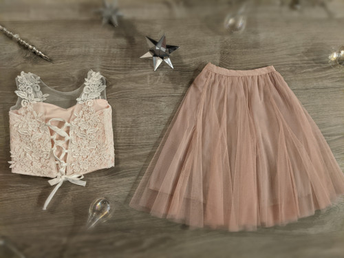 Ayla Rae Pink Lace Top and Blush Pink Petal Skirt