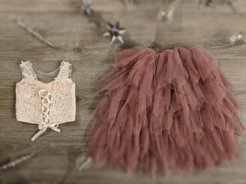 Ayla Rae Pink Lace Top and Rose Gia Skirt