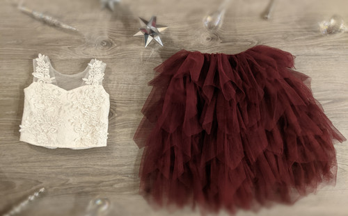 Ayla Rae White Lace Top and Wine Gia Skirt