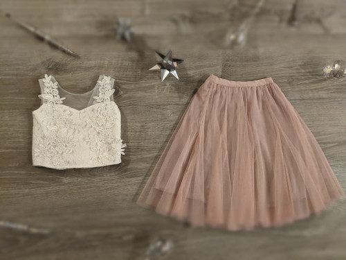 Ayla Rae White Lace Top and Pink Blush Petal Skirt