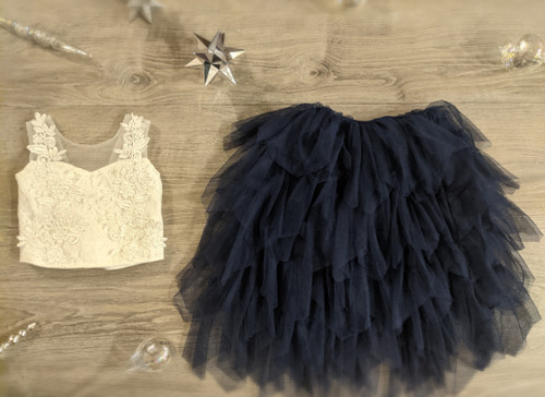 Ayla Rae White Lace Top and Navy Gia Skirt