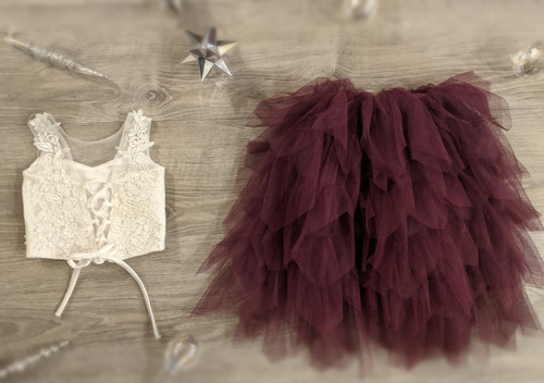 Ayla Rae White Lace Top and Plum Gia Skirt