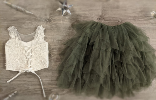 Ayla Rae White Lace Top and Sage/Moss Green Gia Skirt