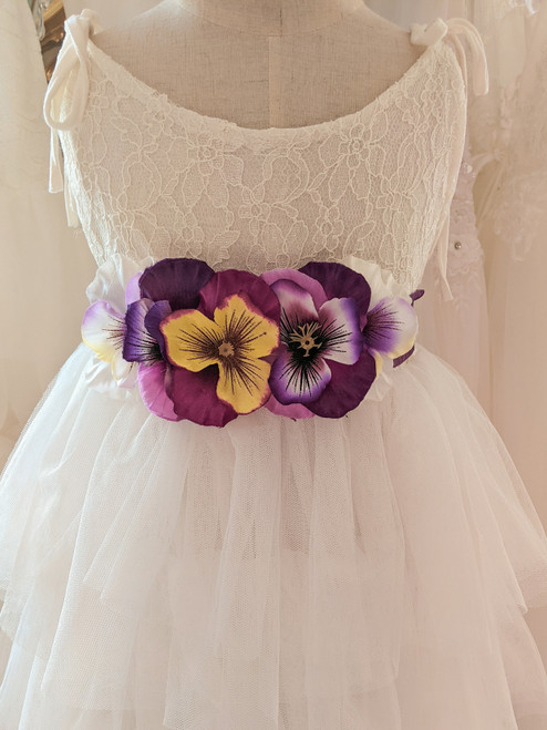 Purple Pansy Flower Belt