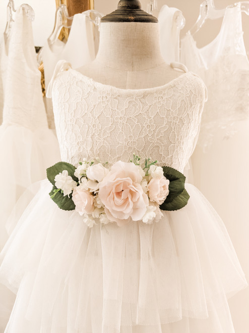 White and Blush Flower Belt