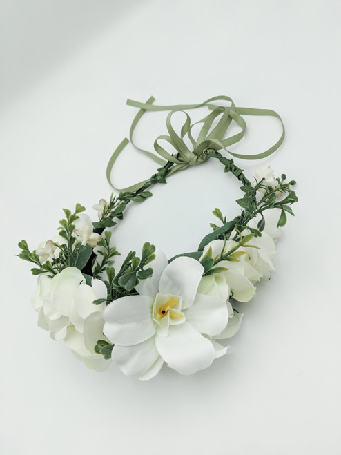 White and Forest Green Flower Crown