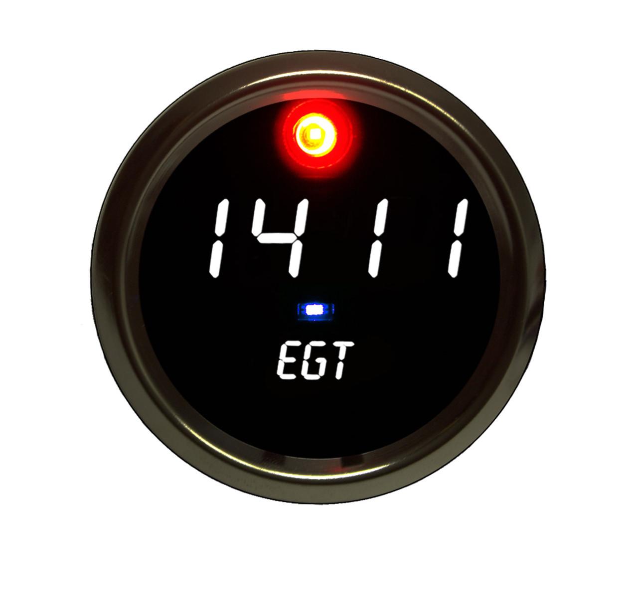 EGT Programmable Co-Pilot Gauge Chrome Bezel - WHITE