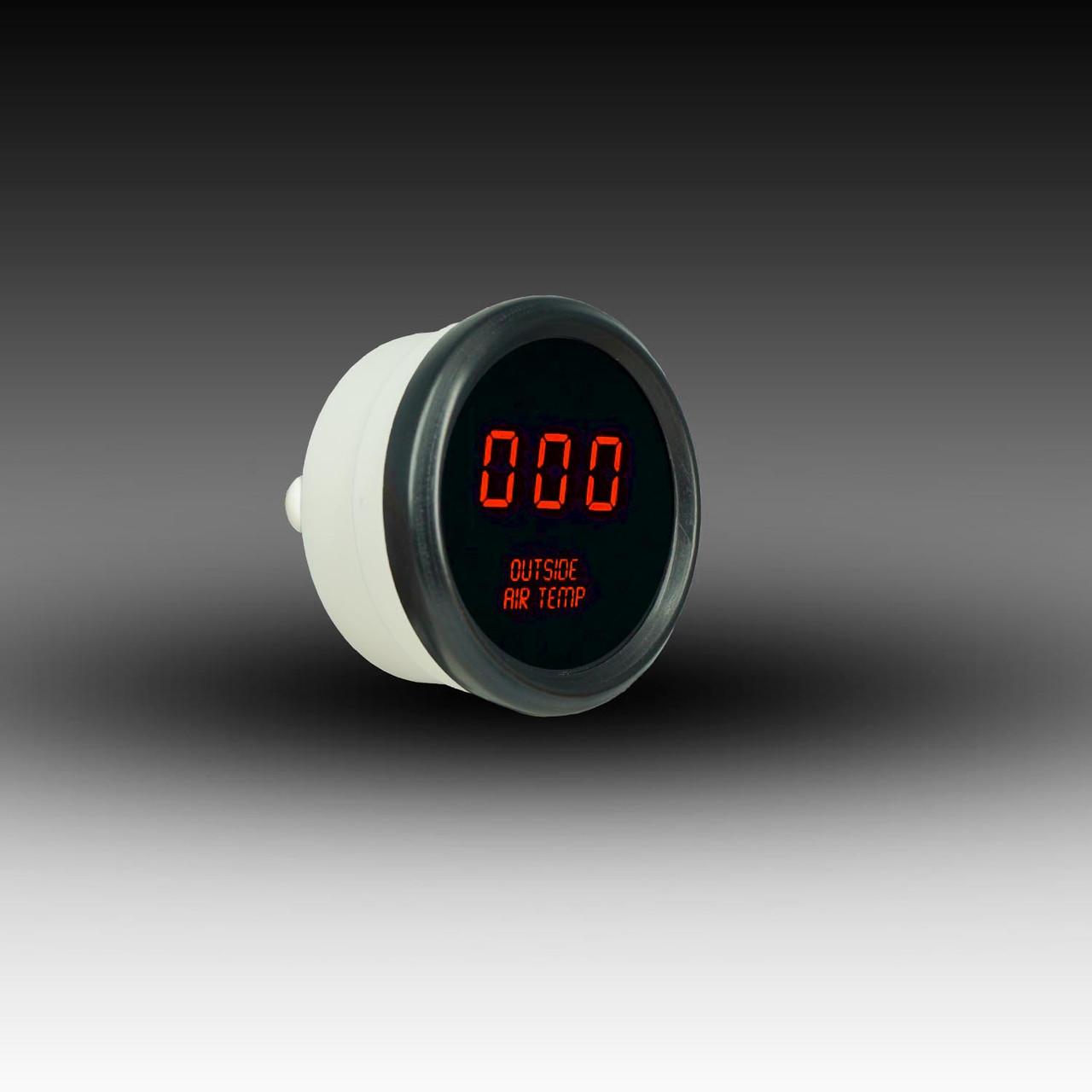 Outside Air Temperature LED Digital Black Bezel - RED