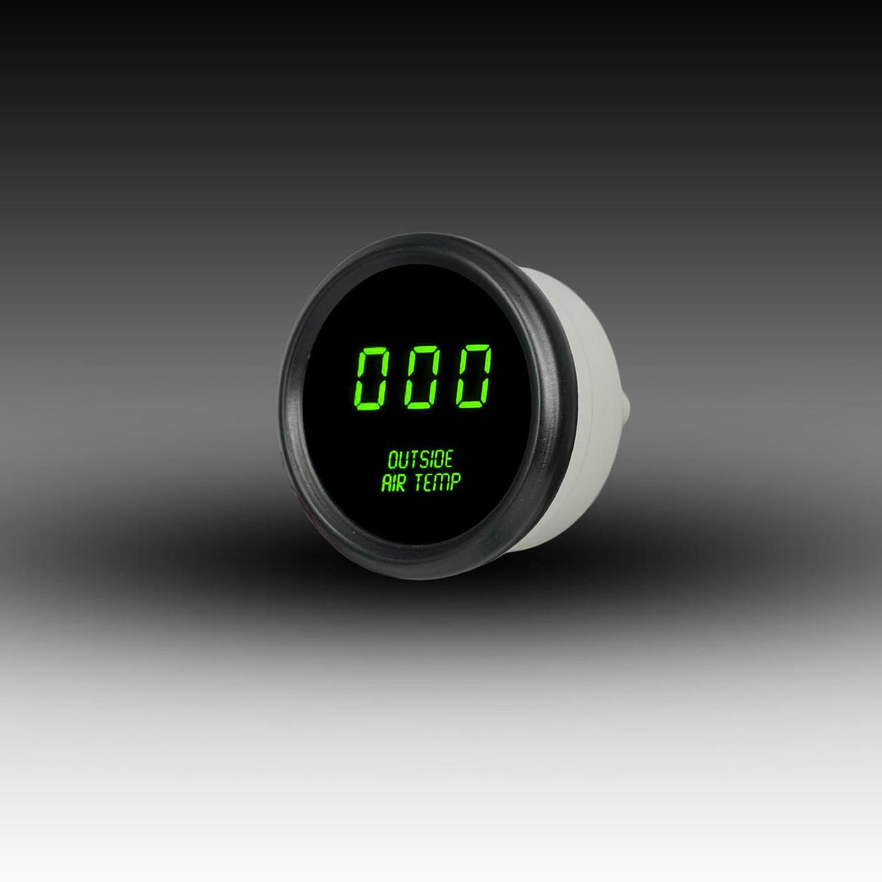 Outside Air Temperature LED Digital Black Bezel - GREEN